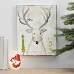 Joy To The World Deer Canvas Art Print