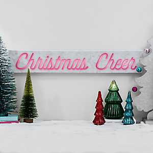 Neon Christmas Cheer LED Canvas Art Print