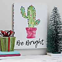 Be Bright Cactus LED Canvas Art Print