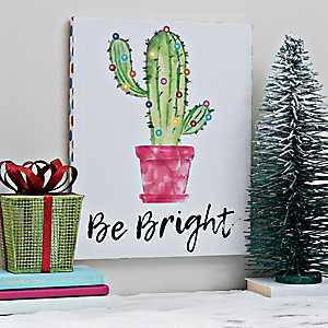 Be Bright Cactus LED Canvas Art Print