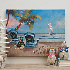 christmas vacation beach led canvas art print