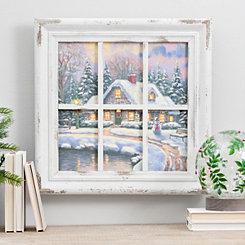 Cottage Windowpane LED Framed Art Print