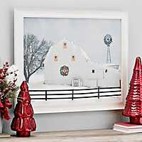 Christmas Glow Barn LED Framed Art Print