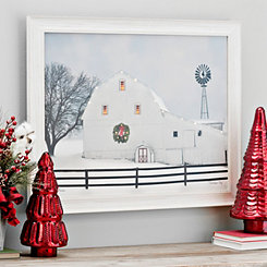Christmas Glow Barn LED Framed Art Print