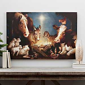 Animal Nativity LED Canvas Art Print