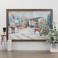 Santa Camper LED Framed Art Print