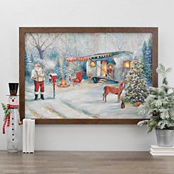 Santa Camper LED Framed Art Print