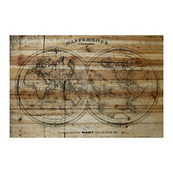 Mappemonde Wood Art Print