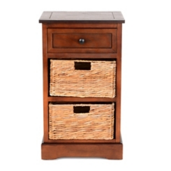Chestnut 3-Drawer Storage Chest with Baskets