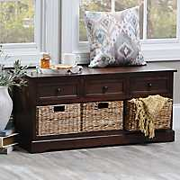 Chestnut 6-Drawer Storage Bench with Baskets