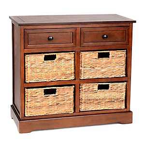 Chestnut 6-Drawer Storage Chest with Baskets