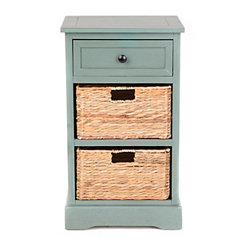 Blue-Gray 3-Drawer Storage Chest with Baskets