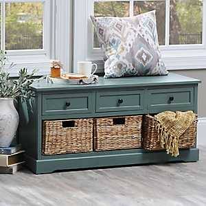 Blue-Gray 6-Drawer Storage Bench with Baskets
