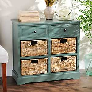 Blue-Gray 6-Drawer Storage Chest with Baskets