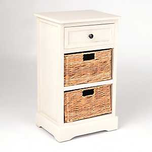 Soft Ivory 3-Drawer Storage Chest with Baskets