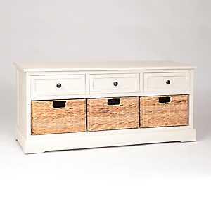 Soft Ivory 6-Drawer Storage Bench with Baskets