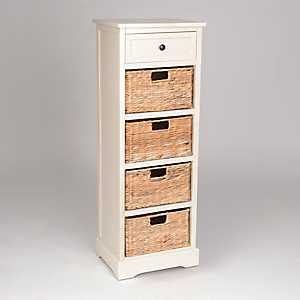 Soft Ivory 5-Drawer Tall Storage Chest