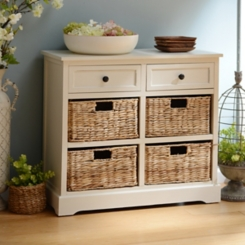 Soft Ivory 6-Drawer Storage Chest with Baskets