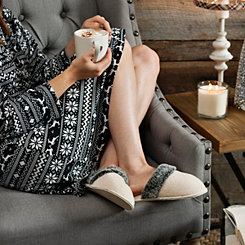 Cream Plush Fur Women's Slippers, S