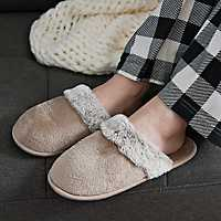 Natural Plush Fur Women's Slippers, S