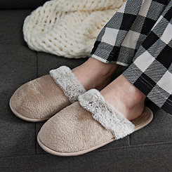 Natural Plush Fur Women's Slippers, XL