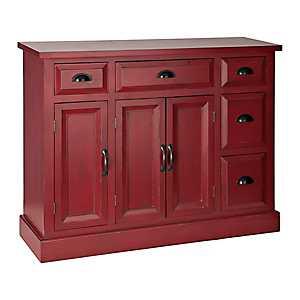 Tuscan Red 3-Door Cabinet