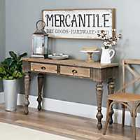 Distressed Wood 2-Drawer Console Table