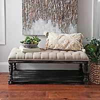 Upholstered Distressed Black Wooden Bench