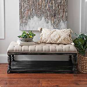 Upholstered Distressed Black Wooden Bench