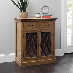 Mirrored 2-Door Natural Wood Cabinet