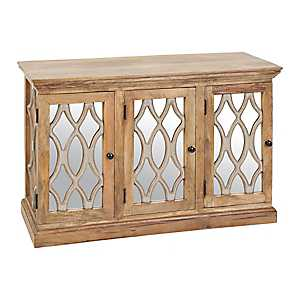 Mirrored Natural Wood 3-Door Cabinet