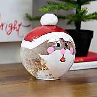 Pre-Lit Santa Character Glass Orb