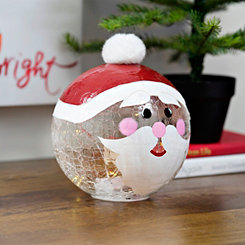 Pre-Lit Santa Character Glass Orb