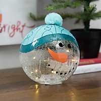 Pre-lit Snowman Character Glass Orb