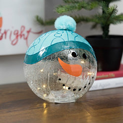 Pre-lit Snowman Character Glass Orb