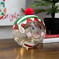 Pre-Lit Elf Character Glass Orb