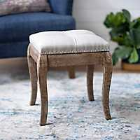 Tufted Weathered Wood Ottoman