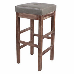 Vintage Gray Bonded Leather Bar Stool