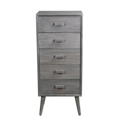 Gray Mid-Century 5-Drawer Chest