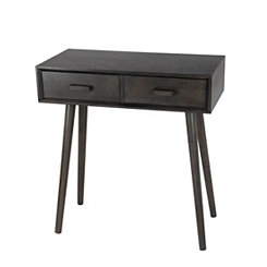 Black Mid-Century 2-Drawer Console Table