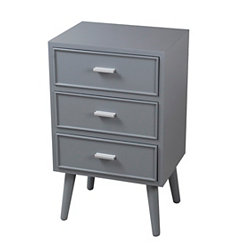 Light Gray Mid-Century 3-Drawer Side Table