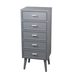 Light Gray Mid-Century 5-Drawer Chest