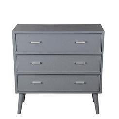 Light Gray Mid-Century 3-Drawer Chest