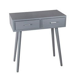 Light Gray Mid-Century 2-Drawer Console Table