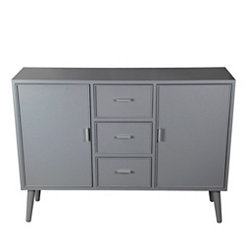 Light Gray Mid-Century 3-Drawer Cabinet