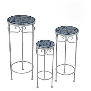 Blue Moroccan Tile Round Plant Stands, Set of 3
