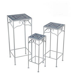 Blue Moroccan Tile Square Plant Stands, Set of 3