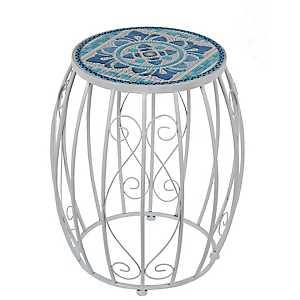 Blue Moroccan Tile Garden Stool