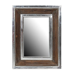 Wood and Aluminum Wall Mirror