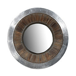 Wood and Aluminum Round Wall Mirror